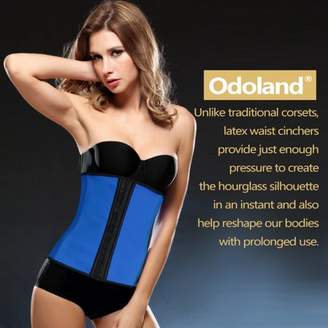 Odoland Women Body Shaper Latex Sport Girdle Waist Training Corset Waist Shaper Underbust Shapewear Size:L-Blue