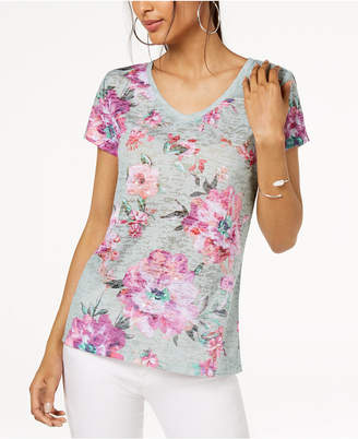 INC International Concepts I.n.c. Floral-Print Sequin-Embellished T-Shirt, Created for Macy's