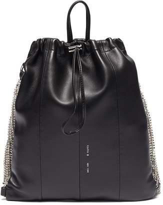 Kara Glass crystal fringe leather drawstring backpack