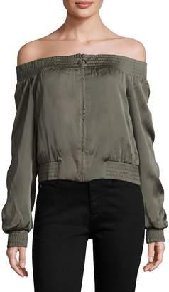BCBGMAXAZRIA Women's Marco Off-the-Shoulder Bomber Jacket