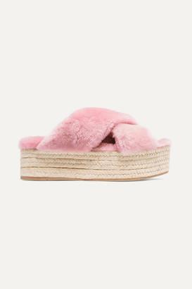 Miu Miu Shearling Espadrille Platform Slides - Pastel pink