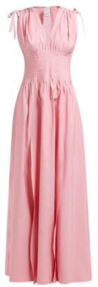Maison Rabih Kayrouz Panelled And Pleated V Neck Faille Gown - Womens - Pink
