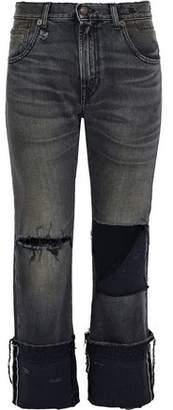 R 13 Cropped Distressed Mid-Rise Straight-Leg Jeans