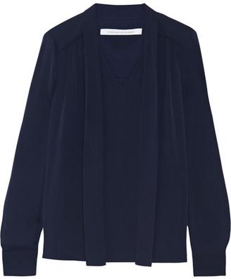 Diane von Furstenberg - Britni Pussy-bow Silk-georgette Blouse - Navy $280 thestylecure.com