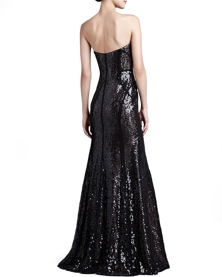 Monique Lhuillier Strapless Sequin Trumpet Gown