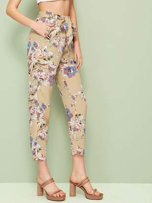 Shein Slant Pocket Belted Floral Pants