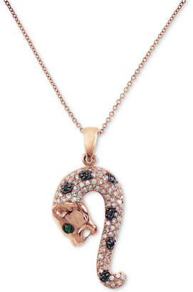 Effy Diamond (3/8 ct. t.w.) & Emerald Accent Chimera Pendant Necklace in 14k Rose Gold