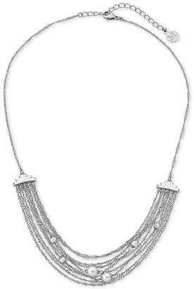 "Majorica Stainless Steel Imitation Pearl Multi-Chain Collar Necklace, 16"" + 2"" extender"