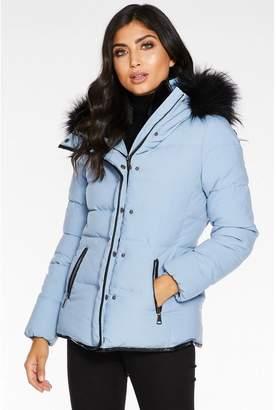 Quiz Pale Blue Padded Faux Fur Trim Jacket