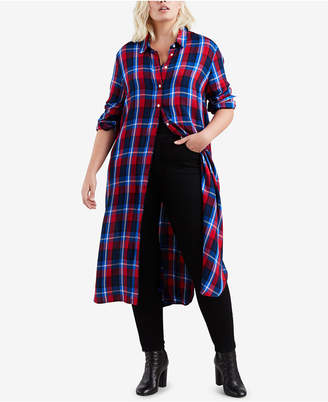 Levi's Plus Size Ceci Cotton Plaid Long Shirt