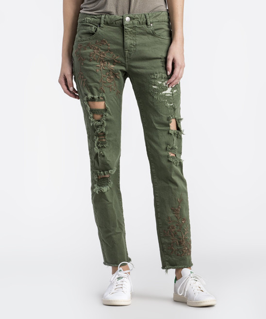 Army Green Floral Distressed Straight-Leg Jeans - Women
