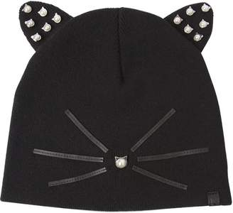Karl Lagerfeld Choupette Embellished Knit Beanie Hat