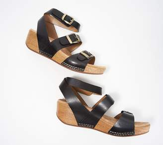 Dansko Leather Ankle Strap Wedges - Lou