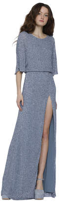 Alice + Olivia Arora Embellished Cape Sleeve Gown