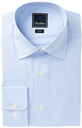 David Donahue Stripe Trim Fit Dress Shirt $135 thestylecure.com