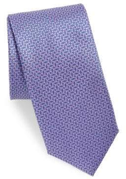 Canali Mini Geometric Pattern Silk Tie