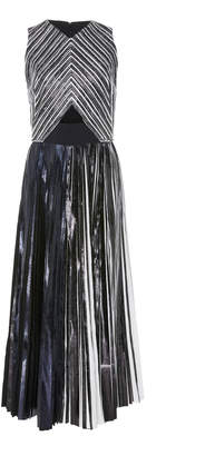 Proenza Schouler Cutout Pleated Lamé Midi Dress