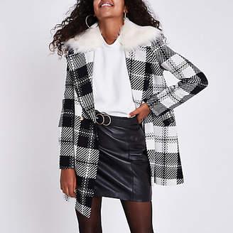 River Island Womens Black check faux fur collar swing coat