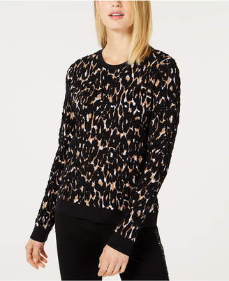 INC International Concepts I.n.c. Leopard-Print Puffy Sweater
