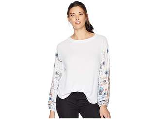 True Grit Dylan by Heathered Rayon Waffle Crew with Printed Sleeves