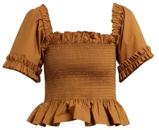 Molly Goddard Sydney Ruffle Trimmed Smocked Cotton Top - Womens - Brown