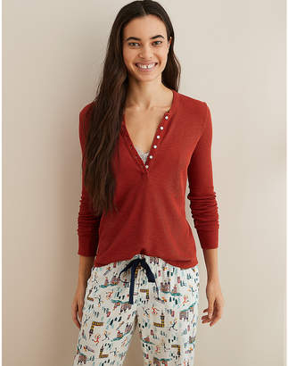 aerie Real SoftWaffle Henley Tee