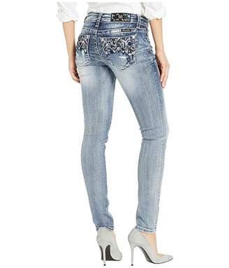 Miss Me Embellished Skinny Jeans in Medium Blue