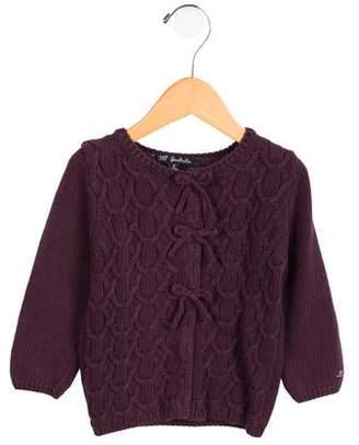 Lili Gaufrette Girls' Bow-Accented Knit Cardigan