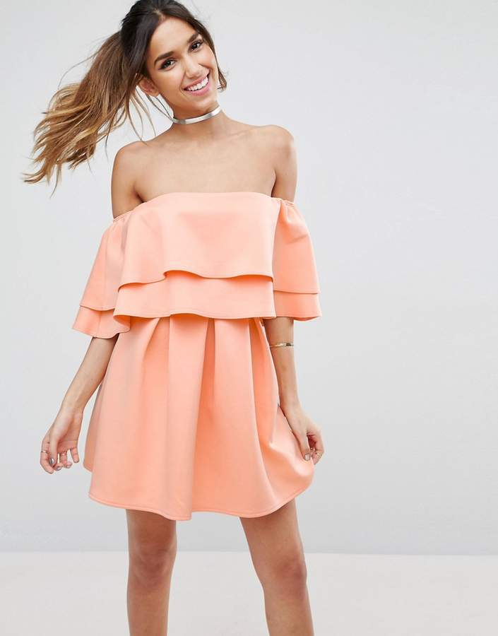 Asos ASOS Ruffle Off Shoulder Mini Dress