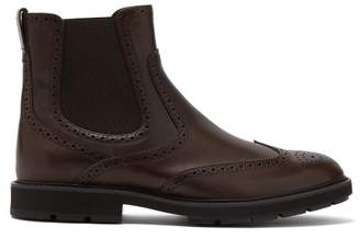 Tod's Leather Brogue Chelsea Boots - Mens - Brown