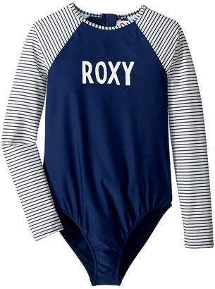 Roxy Kids Downtown Lights Long Sleeve One-Piece Rashguard Girl's Swimsuits One Piece