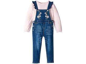 7 For All Mankind Kids Two-Piece Set Slub Knit Jersey Long Sleeve Top and Medium Wash Denim Overall (Toddler)