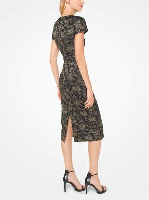 Michael Kors Metallic Floral Jacquard Sheath Dress