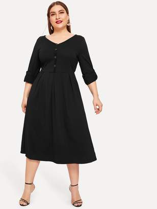 Shein Plus Buttoned Roll Up Sleeve Pleated Dress