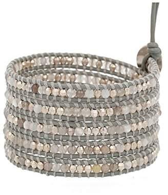 Chan Luu Botswana Agate Mix Stones Leather Wrap Bracelet