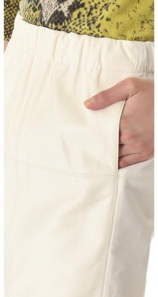 Halston Leather Combo Skirt