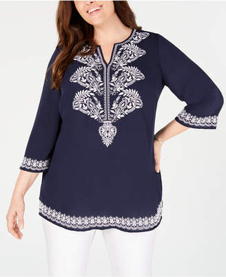 14a88b9f11e Charter Club Plus Size Georgette Embroidered Tunic