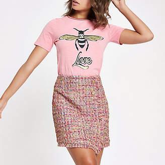 River Island Pink check boucle button mini skirt