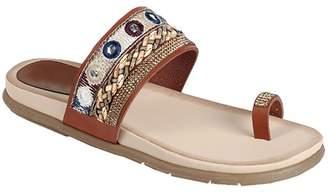391ef90c733 TravelNut Tan Brown Open Heel Open Toe Slip On Sandal Beaded Gladiator  Multicolored Tribal Boho Vegan