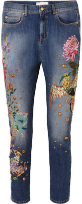 Murad Zuhair Embroidered Embellished Low-rise Slim Boyfriend Jeans