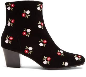 ALEXACHUNG Beatnik embroidered velvet ankle boots