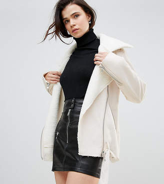 Glamorous Tall Jacket In Faux Shearling