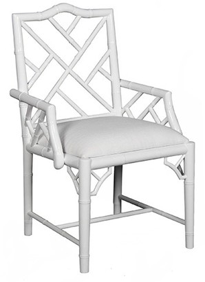 White Lacquer Chippendale Inspired Arm Chair
