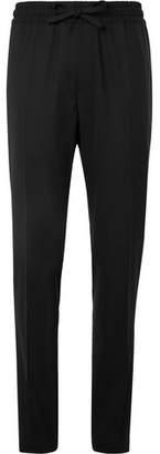 Versace Black Slim-fit Virgin Wool Drawstring Suit Trousers - Black