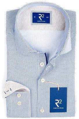 R2 Amsterdam 総柄 ホリゾンタルカラー 長袖シャツ ブルー 40