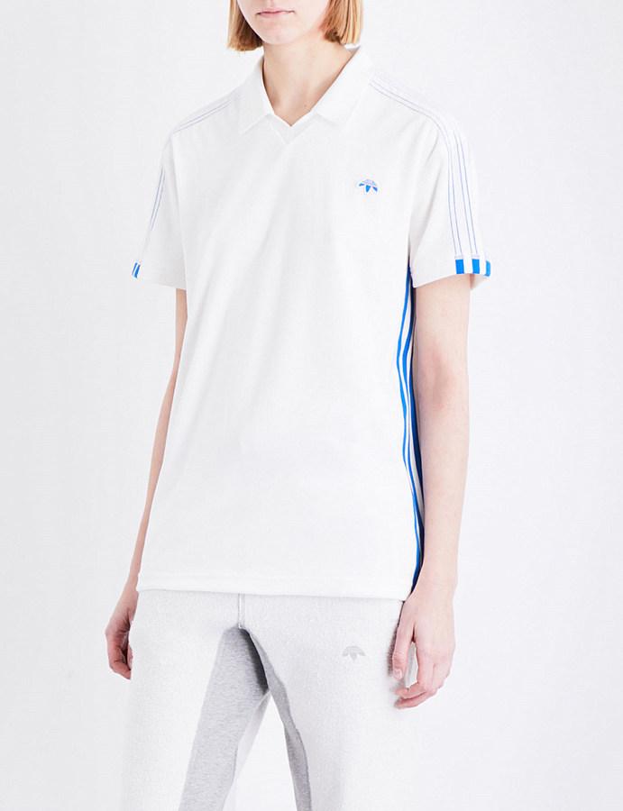 Adidas X Alexander Wang Logo-embroidered velour polo shirt