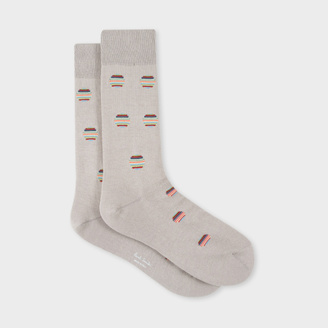 Men's Grey Polka Dot Stripe Socks $30 thestylecure.com