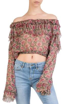 The Kooples Ruffled Off-the-Shoulder Floral Silk Top