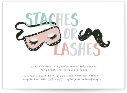 Staches and Lashes Custom Selflaunch Stationery