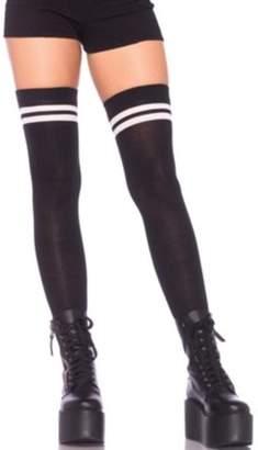 Leg Avenue Women's Ribbed Athletic Thigh Highs, Black/White, O/S
